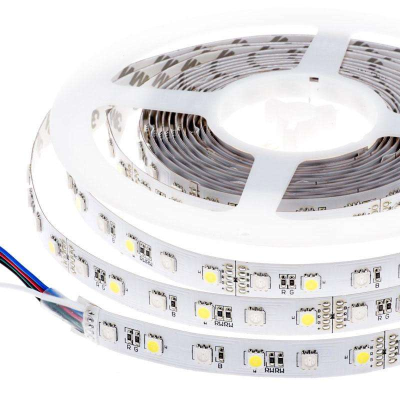Tira LED SMD5050, RGB+WW, DC12V, 5m (60Led/m) - IP20,